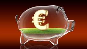 Euro sign inside transparent piggy bank. 3d rendering Stock Images