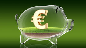 Euro sign inside transparent piggy bank. 3d rendering Stock Photo