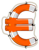 Euro sign isolated lifebuoy. Vector lifebuoy in the shape of a Euro sign is a symbol of economy saving by investment fund to provide economy growth Royalty Free Stock Photo