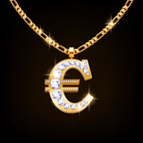 Euro sign jewelry necklace on golden chain. Stock Photo
