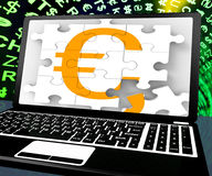 Euro Sign On Laptop Shows Online Money Exchange Stock Image