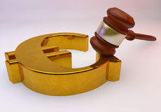 Euro sign with Law gavel Royalty Free Stock Photos
