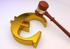 Euro sign with Law gavel Stock Image