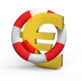 Euro sign in a life buoy Royalty Free Stock Photography