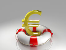 Euro sign in the lifebuoy Royalty Free Stock Image