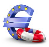 Euro sign and  lifebuoy. On a white background. 3d rendering Royalty Free Stock Photography