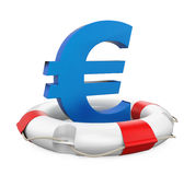 Euro Sign in Lifebuoy Isolated. On white background. 3D render Stock Images