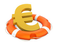 Euro Sign in Lifebuoy Isolated Royalty Free Stock Image