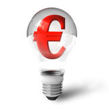 Euro sign in lightbulb Royalty Free Stock Images