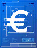 Euro sign like blueprint drawing Royalty Free Stock Image