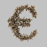 Euro sign made of bullets Stock Image
