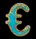 Euro sign made in golden shining metallic 3D with blue paint isolated on black background. stock illustration