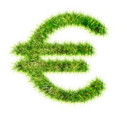 Euro sign made of green grass Stock Images