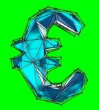 Euro sign made in low poly style blue color isolated on green background. 3d rendering Stock Illustration