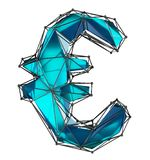 Euro sign made in low poly style blue color isolated on white background. royalty free stock photo