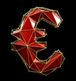 Euro sign made in low poly style red color isolated on black background. stock images