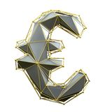 Euro sign made in low poly style silver color isolated on white background. stock images