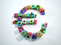 Euro sign, made of many gifts. Stock Photos