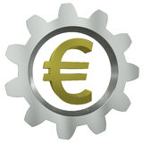 The euro sign in a metal gear Stock Image