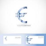 Euro sign money symbol logo. Vector logo template of 3d euro sign money symbol with business card Stock Photos
