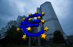 Euro Sign Monument Stock Photos
