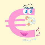 Euro sign national currency Europe. The Euro sign is the national currency of Europe. The character of the Euro sign is wondering on Daisy love him or not Stock Image