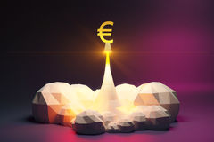 Euro sign off from spaceport, polygonal style concept. Mock up Stock Photo
