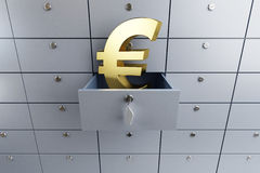 Euro sign opened empty bank deposit cell Royalty Free Stock Photos