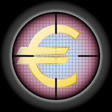 The Euro sign in the optical sight. vector illustration