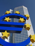 Euro Sign Outside European Central Bank. The Euro Sign Outside the Headquarters of the European Central Bank in Frankfkurt Stock Photography