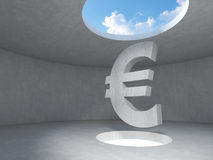 Euro sign over the light hole space on floor up to the sky in concrete room. stock illustration