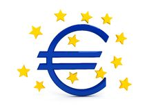 Euro sign over white background Royalty Free Stock Photos