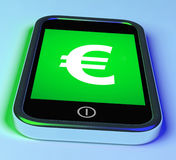 Euro Sign On Phone Shows European Currency Stock Image