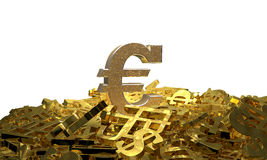 Euro sign on a pile of other currency symbols Stock Image