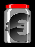 Euro sign in preserving jar Stock Photo