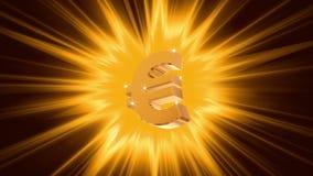 Euro sign on radiant light background, success, large income, jackpot winner
