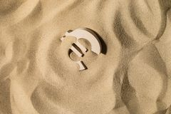 Euro Sign On the Sand stock photo