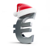 Euro sign santa hat. On a white background Stock Images