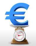 Euro sign on scale pan Stock Photos