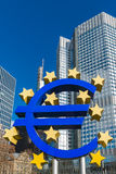 The Euro sign sculptures in Frankfurt, Germany Stock Images