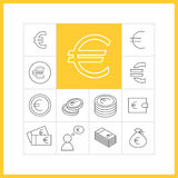 Euro sign. Set of simple euro icons in trendy linear style.  Collection of finance  items Stock Images