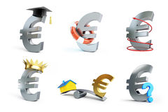 Euro sign set on a white background Stock Images