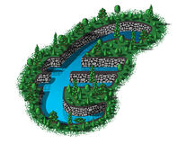 Euro sign shape of waterhole. Water reservoir in the shape of a euro sign Royalty Free Stock Photo