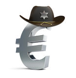 Euro sign sheriff hat. On a white background Stock Photography