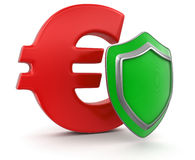 Euro Sign and Shield (clipping path included) Royalty Free Stock Photos