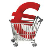 Euro sign in shopping cart Royalty Free Stock Image