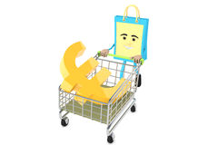 Euro sign with shopping trolley Royalty Free Stock Photos