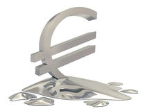Euro sign silver melt Royalty Free Stock Photos