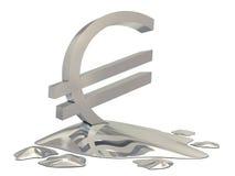 Euro sign silver melt. On white background Royalty Free Stock Photos