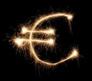 Euro sign sparkler. On dark stock image